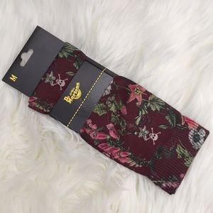 NWT Dr Martens Wild Botanics Oxblood Socks Size M